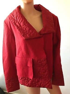 £12.50 • Buy Hucke Woman Ladies Size 14 Red Wool Jacket With Quilted Collar And Pocket