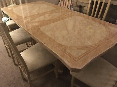 Marble Dining Table And Chair Set 6 Chairs - Beige / Cream / Light Brown • 399£