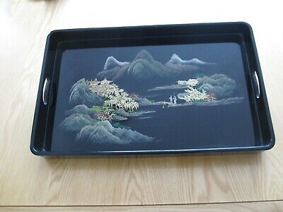Vintage Japanese Black Lacquer Tray Rectangular With Open Handles Trees Blossom • 15£