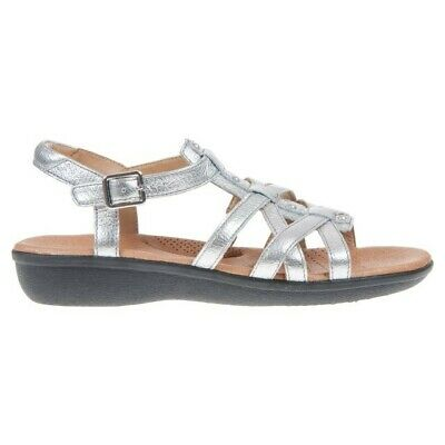 BNWOB Silver Clarks Manilla Bonita Leather Gladiator Sandals. Size 7D • 20£