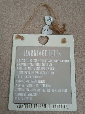 Marriage Rules Wall Hanging Wedding Gift Love Hearts Mr And Mrs • 2.80£