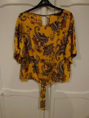 Dorothy Perkins Yellow Paisley Print Tie Front Over Sized Top Size 16 • 1.30£