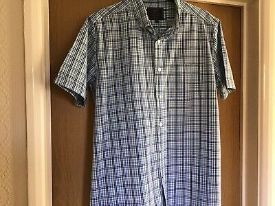 Atlantic Bay  BHS  Short Sleeved Blue Mix  Shirt Med VGC • 5.99£