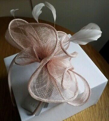 BNWT COAST Cora Small Headband Feather Fascinator Blush Dusky Pink Box £39 • 15.99£