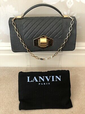 Authentic Lanvin Leather Grey Shoulder/Clutch Bag With Gold Chain • 190£