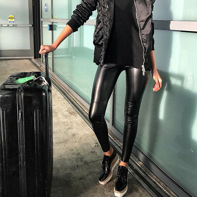 Wolford Estella Black Leather Look Leggings - Size 34 UK 6 - Perfect Gift • 165£