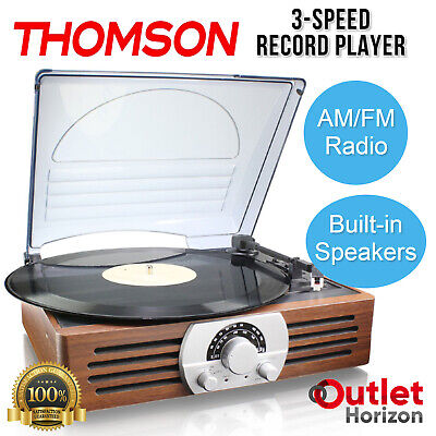 AU59.90 • Buy THOMSON Record Player 3-Speed Turntable AM/FM Radio Built-In Stereo Speakers NEW