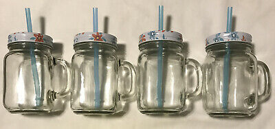 Glass Drinking Jar With Handle, Lid And Straw, 12 Oz, Set Of 4, Clear, NEW • 10.49£