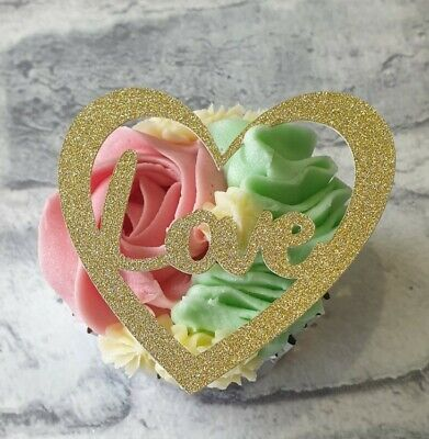 £3.90 • Buy 12 Mothers Day, Birthday, Wedding Love Heart Cupcake Toppers In Gold Card