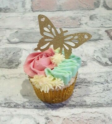 £3.90 • Buy 12 Easter, Mothers Day, Birthday , Wedding Toppers Butterflies  In Gold Card