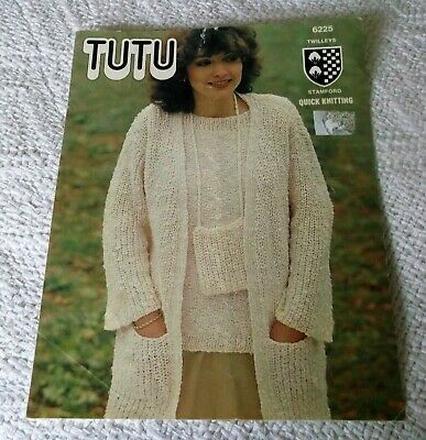 ORIGINAL VINTAGE TWILLEY'S  TUTU  KNITTING PATTERN No.6225, TUNIC/JACKET/HAT/BAG • 1£
