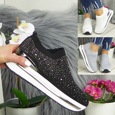 £18.99 • Buy Ladies Sock Bling Trainers Womens Sneakers Ankle Comfy Wedge Pumps Pull On Shoes