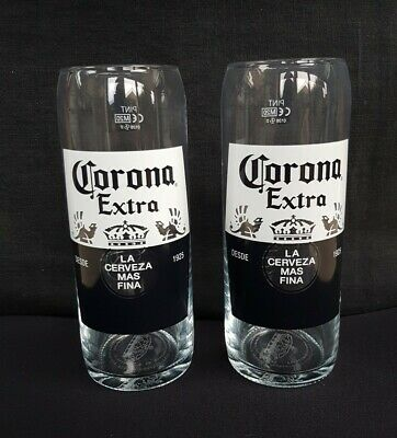 2 NEW CORONA EXTRA LAGER PINT BEER GLASS - NEW - Ideal Home Bar - Pub  • 12£