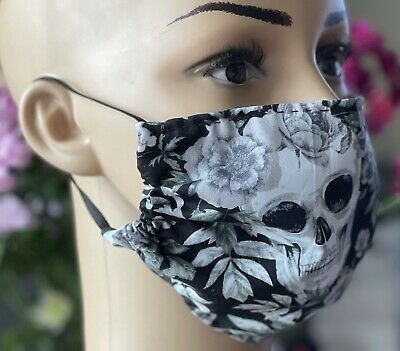 £2 • Buy GOTHIC Handmade Face Covering Mask 100% Cotton Washable Skulls/Flower GREY/BLACK