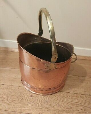 Vintage Copper Coal Scuttle Bucket With Solid Brass Handle - Polished Finish • 36.99£