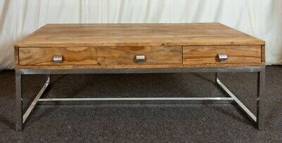 Solid Wood Coffee Table With Chrome Legs & Drawers • 21£