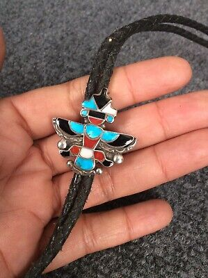 $ CDN228.35 • Buy Vtg  Native American Zuni Hex  Silver  Turquoise Coral Knife-wing Bolo  Tie