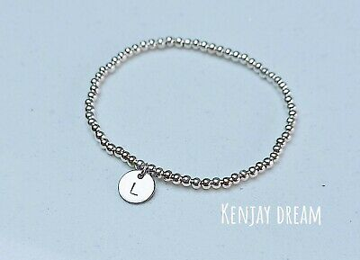 £3.99 • Buy Personalised Initial Charm Letter Silver Ball Beaded Disc Stretch Bracelet