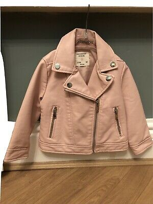 Girls Pink Faux Leather Jacket 18-24 Months Bnwot • 7.50£