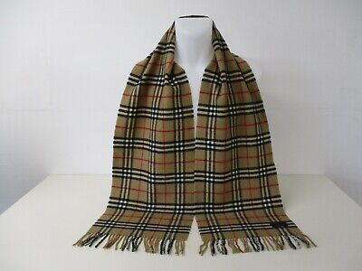 BURBERRY SCARF, 100% Lambswool, Honey Beige Classic Nova Check, 72  X 12  • 5£