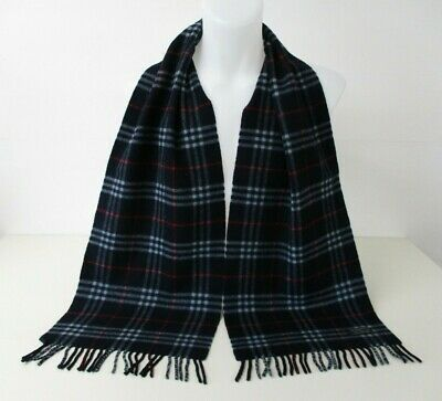 BURBERRY SCARF, 100% Lambswool, Navy, Red, P.Blue, Classic Nova Check, 72  X 12  • 5£