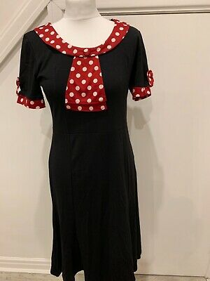 Black Below The Knee Short Sleeve Dress With Red White Polka Dot Detail, Size 12 • 15£