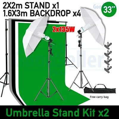AU99.99 • Buy Photography 4PCS Backdrops Umbrella Lighting Kit +Background Support Stand Kit
