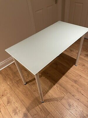 Ikea Glasholm Glass Desk Table Top With Legs • 10£