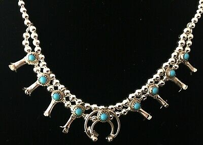 $ CDN95.15 • Buy Navajo Sterling Silver & Turquoise MINI Squash Blossom Necklace #B20 SIGNED