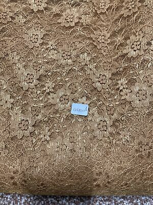 Bright Gold Lace Material Fabric 4 Yards And A Large Piece Suitable For Dress • 5.70£