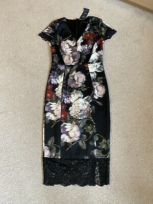Women's BNWT M&S Fitted Bodycon Black Floral Petite Dress 6-8 • 7.30£