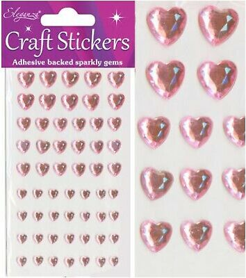 £2.20 • Buy Craft Stickers Pink Pearl Diamond Hearts Sparkly Gems Card Making Self Adhesive