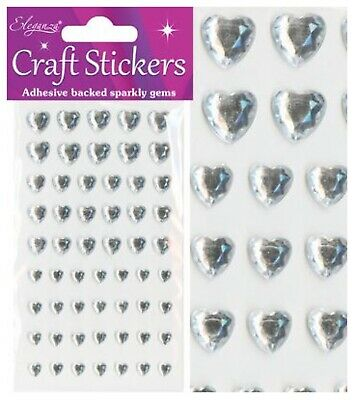Craft Stickers Silver Pearl Diamond Hearts Sparkly Gem Card Making Self Adhesive • 2.20£