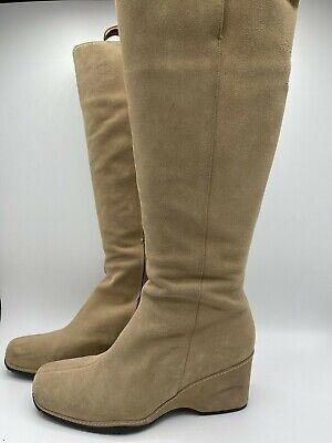 Rockport Ladies Beige Suede Leather Knee Boots Size 9.5W/ UK 7.5 • 9.99£