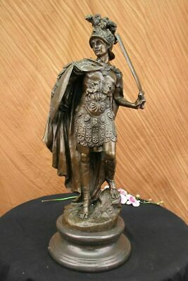£538.93 • Buy Signed Very Tall Greek Warrior Bronze Sculpture Hotcast Home Decor Marble Large