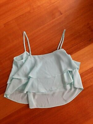 AU5 • Buy Forever New Size Ladies Aus 10 Crop Layer Fabric Cami Baby Blue Colours