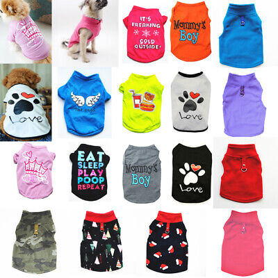 Pet Dog Vest T-shirt Puppy Cat Small Dog Clothes Harness Leash Pug Coat Jacket • 3.52£