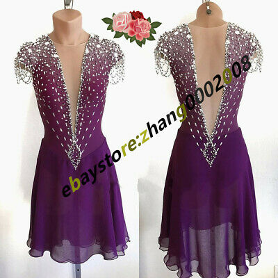 Stylish Ice Skating Dress.Competition Figure Skating Dance Twirling Costume • 140£
