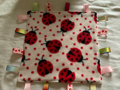 Girls Ladybird Themed Taggy Comforter With Pink Dimple Fleece • 5£