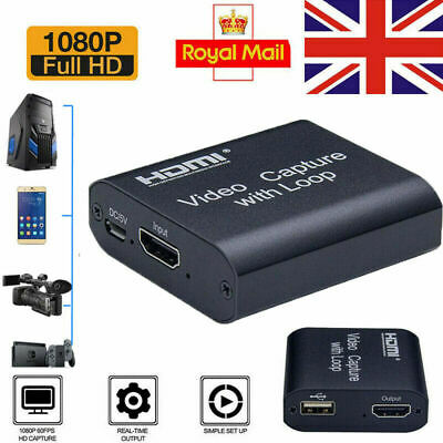 4K HD 1080P 60fps HDMI Video Capture Card USB 2.0 Mic Game Record Live Streaming • 13.89£