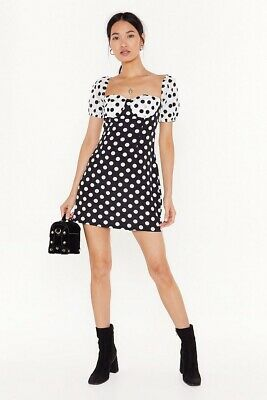 Nasty Gal Polka Dot Mini Dress In Black And White With Puffed Sleeves Size 10 • 5£