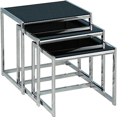 Hanley Nest Of Tables In Black Glass And Chrome • 89.99£