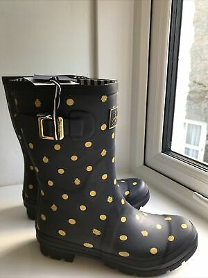 £45 • Buy Joules Womens Molly Mid Height Printed Wellies Size 6 Navy Ladybird