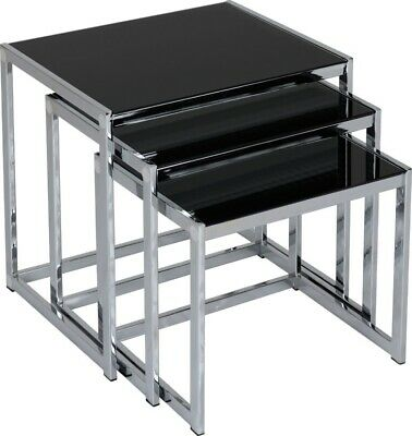 Seconique Hanley Living Room Nest Of Tables Black Glass & Chrome • 104.95£