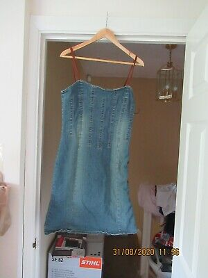 R & B Denim Dress Size 14 Leather String Straps And Lace Up Side Blue Stretchy • 12£