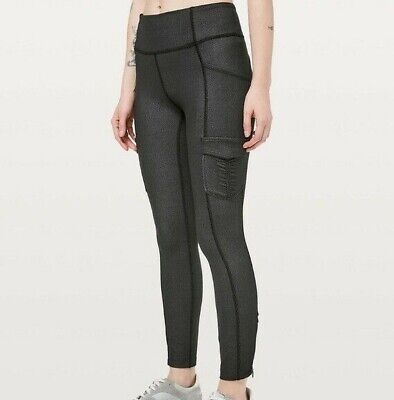 $ CDN101.24 • Buy New Lululemon Leggings Scenic Route 7/8 Tight Cargo Ankle Pockets Black Size 10