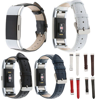 AU16.23 • Buy Stainless Steel Genuine Leather Watch Band Wrist Belt Loop For Fitbit Charge 2
