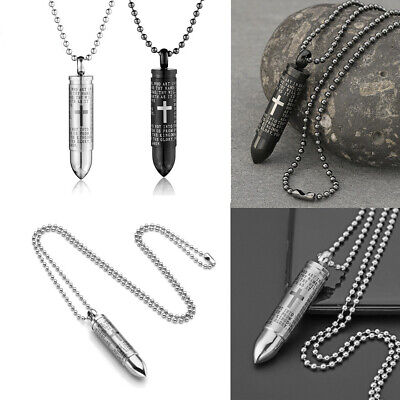 £7.45 • Buy Stainless Steel Urn Necklace For Ashes Bullet Cross Pendant Cremation Keepsakes