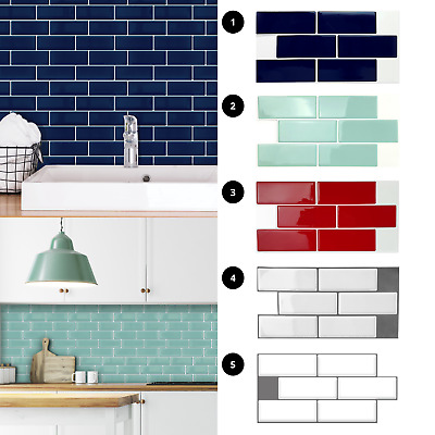 3D Peel And Stick Tile Stickers Kitchen Wall Tile Bathroom Mosaic Self Adhesive • 4.99£