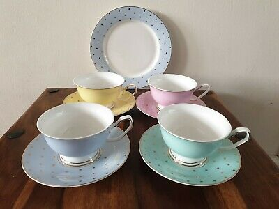 China Blue New Bone China Tea Set Four Teacups And Saucers And One Serving Plate • 23£